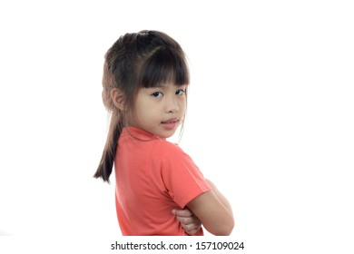 Happy cute asian girl portrait on white background