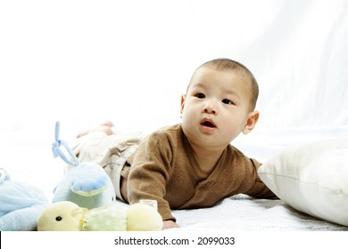 A happy cute baby boy (isolated white)