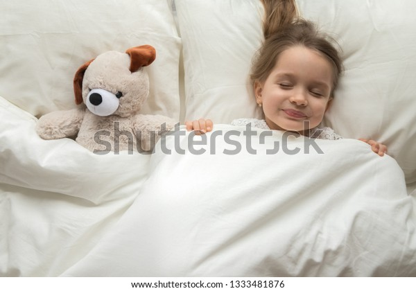 Happy Cute Baby Girl Sleeping Teddy Stock Photo Edit Now 1333481876