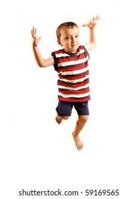 Happy cute boy jumping