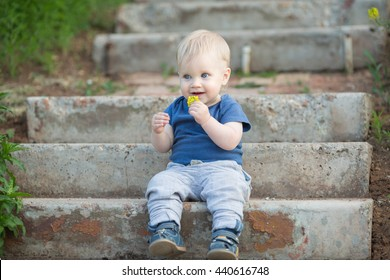 Happy cute boy on old street. Smiling one child outdoors is sitting on stairs with grass and yellow flowers