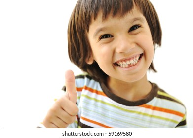 Happy cute child with thumb up