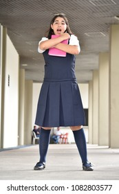 Happy Cute Colombian Girl Student Wearing Skirt