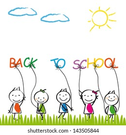 Happy and cute kids back to school