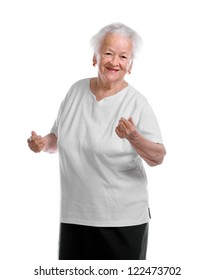 Happy dancing old woman on white background
