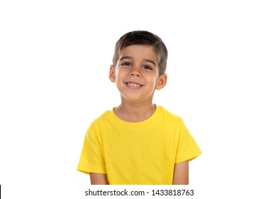 Happy dark child with yellow t-shirt isolated on a white background