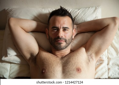 Happy dark-haired man in bed with his hands behind the head