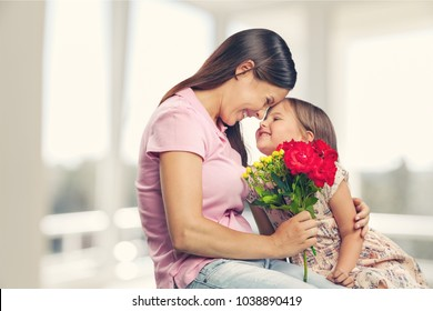 Happy daughter and mother