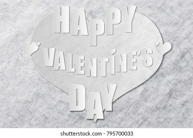 Happy Valentine'??s Day message on a big heart that blends on gray grain paper background for special loved one.