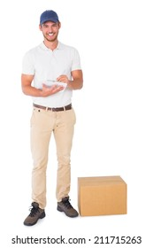 Happy delivery man with cardboard box and clipboard on white background