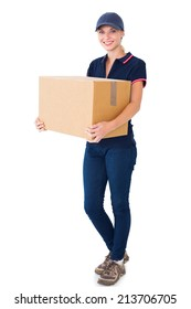 Happy delivery woman holding cardboard box on white background