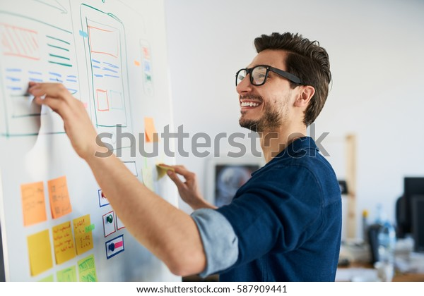 Happy designer doing usability tests on whiteboard