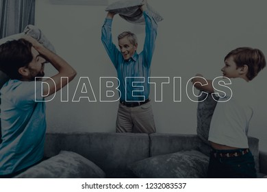 Happy Diabetics Family. Pillow Fight On A Couch. Father Son And Grandson. Resting Together. Holiday Leisure. Weekend At Home. Pillow Fighting. Sitting On The Couch. Great Childhood.