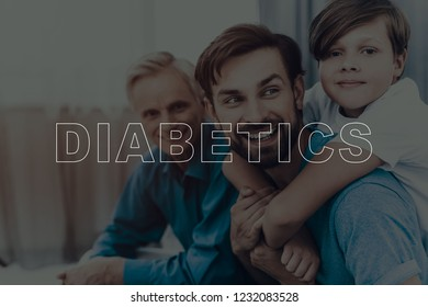 Happy Diabetics Family Are Spending Time Together. Father Son And Grandson. Resting Together. Holiday Leisure. Weekend At Home. Love Each Other. Sitting On The Couch. Great Childhood.