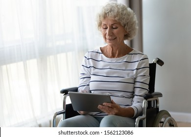 Happy disabled handicapped senior adult retired woman sit on wheelchair hold digital tablet at home, smiling elder old grandma enjoy using online app read electronic book tech on computer in hospital