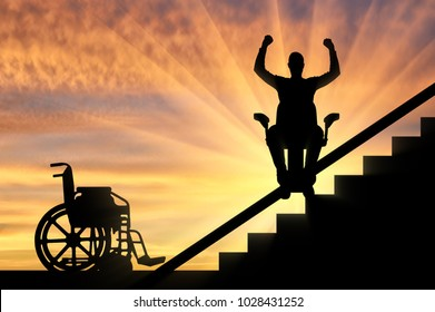 Happy disabled person climbs on elevator for disabled on stairs. Concept disabled lift, elevator, handicap
