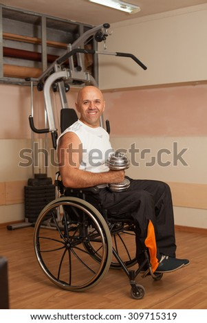 Happy disabled person gym doing exercises stock photo edit now