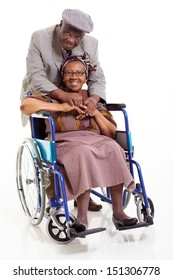 happy disabled senior african woman and her caring husband on white background