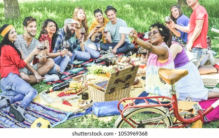 Happy diverse friends taking selfie at picnic party outdoor in nature - Young people drinking wine,eating and having fun together with technology trends - Summer concept - Focus on afro girl face