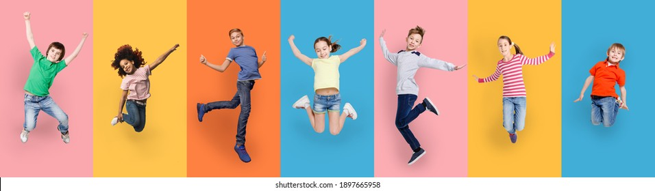 Happy Diverse Kids Jumping Posing Over Different Colorful Backgrounds. Collage With Joyful Multiracial Boys And Girls Jump Together. Carefree Childhood Concept. Panorama