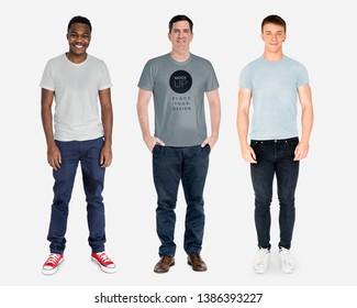 Happy diverse men wearing shirt mockups