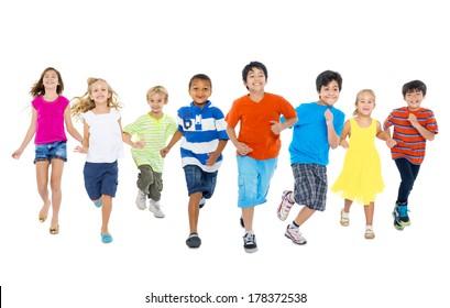 Happy Diverse Multi-ethnic Children Running