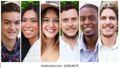 Happy diverse young people portrait set. Cheerful smiling men and women multiple shot collage. Positive human emotions concept
