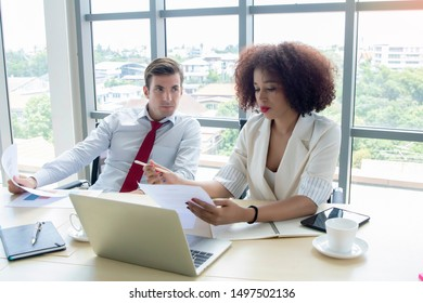 Happy diversity workers in office. Good teamwork reach goals and successful concept.People of various ethnicities working together with close relationships. Colleagues cooperation bring company growth