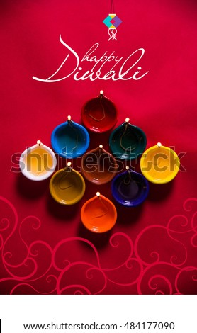 Happy diwali happy deepavali greeting card stock photo edit now happy diwali or happy deepavali greeting card made using a photograph of diya or oil lamp m4hsunfo