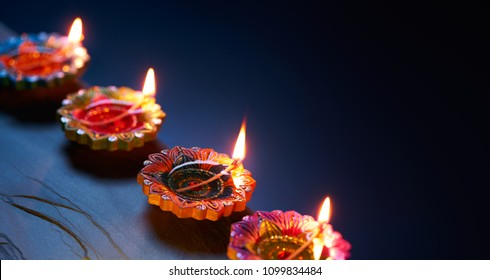 Happy Diwali - Diya lamps lit during celebration