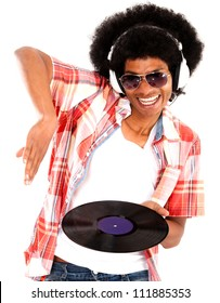Happy DJ remixing music - isolated over a white background