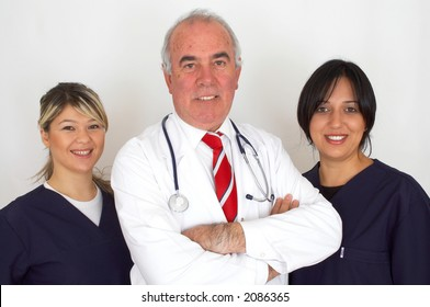 happy doctors team together on white background