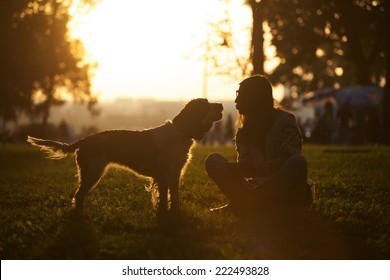 Happy Dog And Young Girl Sitting On The Grass In The Park At Sunset