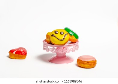 Happy Donuts on white background
