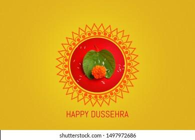 Happy Dussehra greeting card , green leaf,Rice