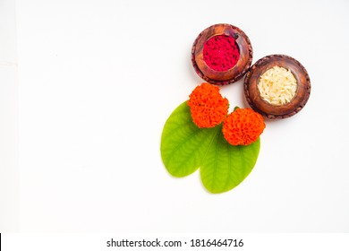 Happy Dussehra greeting card , green apta leaf and rice, Indian festival dussehra
