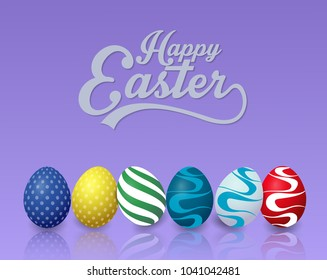 Happy easter background with colorful easter eggs on blue background