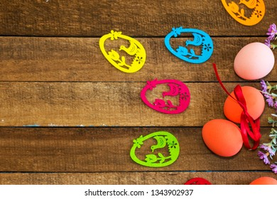 happy Easter background. colorful eggs on wooden background