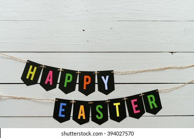 Happy easter banner lettering. Holiday postcard template. Space for text, copy.