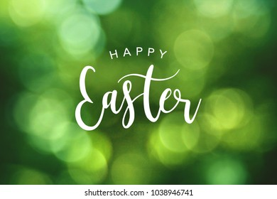 Happy Easter Calligraphy Text Over Green Spring Bokeh Background