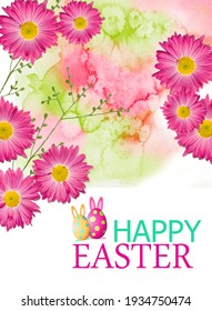 Happy easter card with gerbera flowers