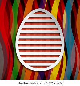Happy Easter Card - simple shape of egg on patterned background