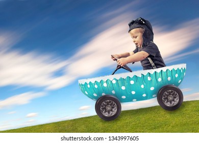 happy easter concept - smiling cute boy enjoy his ride in easter egg