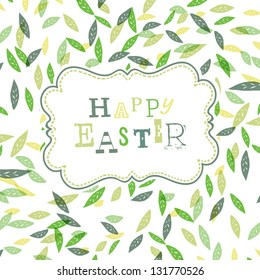 Happy easter. Cute greeting card template. Raster version, vector file available in portfolio.