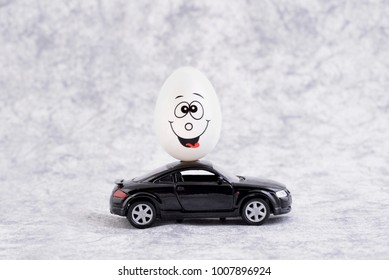 Happy easter egg with car.
