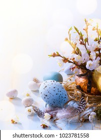 Happy Easter;  Easter eggs and spring flowers on blue table background