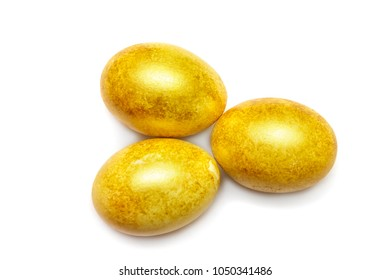 Happy Easter. Golden eggs isolated on white background