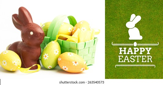 happy easter graphic against green background