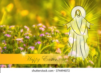 Happy Easter greeting card or background with abstract Risen Lord Jesus Christ, flower meadow and copy space for text.
