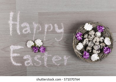 Happy Easter Greeting With Eggs Over Rustic Wooden Gray Background
